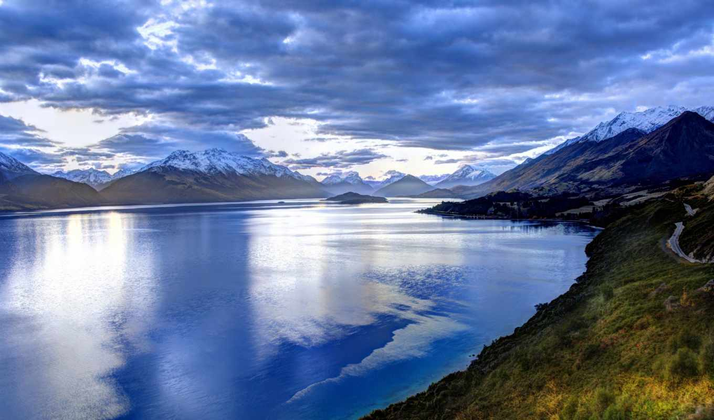 горы, небо, пейзаж, природа, озеро, облака, синий, картинка, картинку,