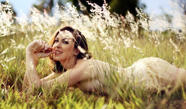 травы, devushka, разных, разрешениях, высокой, pole,