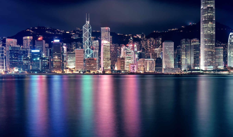 город, ночь, фотопанно, hong, kong,