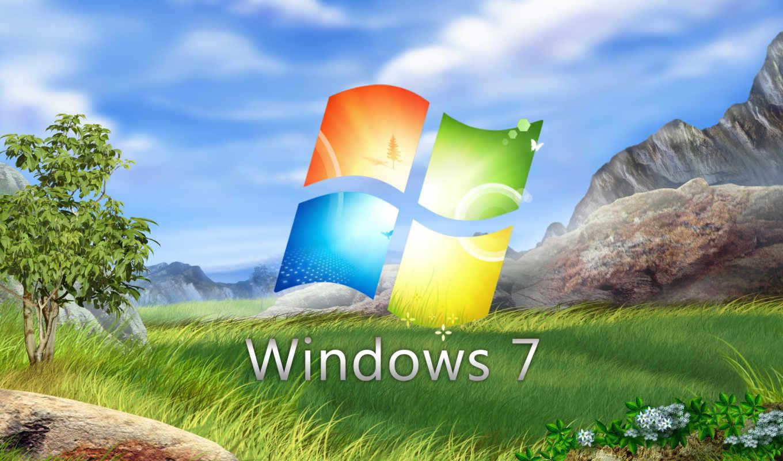 windows, se7en, logo, трава, горы, дерево, цветы, небо, облака