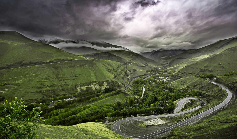 горы, природа, landscape, зелёный, трава, дорога, деревя, лес,