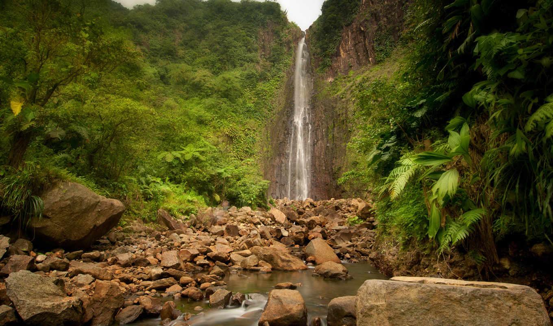 водопад, natural, высокий, камни, джунгли, река, природа, поделиться, картинка, изображения, вернуться,