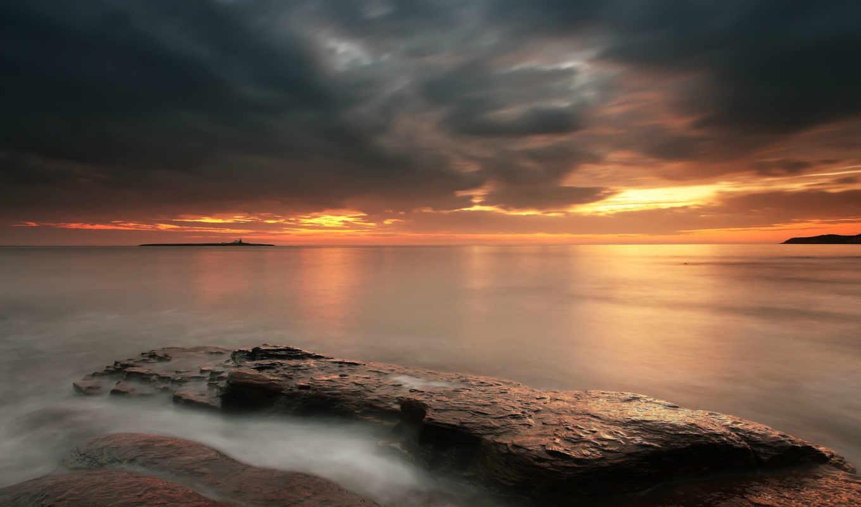 море, штиль, англия, великобритания, берег, камни, вечер, закат, оранжевый, небо,