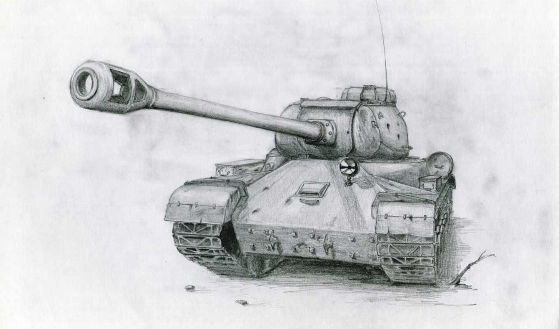 танк, рисунок, soviet, pencil, пистолет,