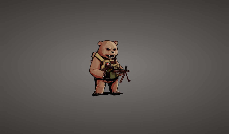 минимализм, медведь, пулемет, прицельный, оружие,