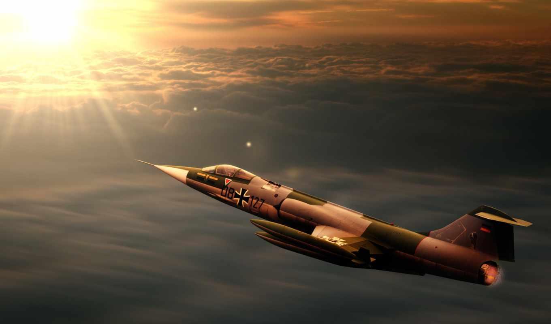 starfighter, реактивный, закат, interceptor, lockheed, старфайтер, самолёт, истребитель, дек,