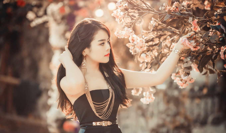 модель, asian, девушка, desktop, free, flowers,
