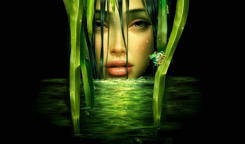 рисунок, лягушка, девушка, green, graphics, фантастические, картинку, desktop, fantasy, similar,