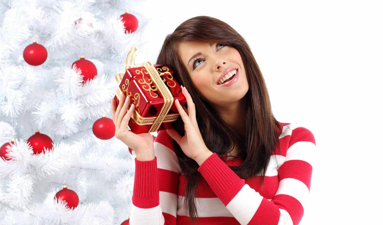 christmas, девушка, новый, год, картинка, сюрприз, праздник, праздники, girls, брюнетка,