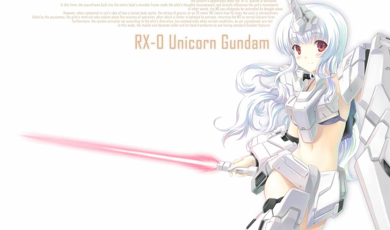 unicorn, gundam, mecha, red, girl, blush, tags, hair, horns, long,