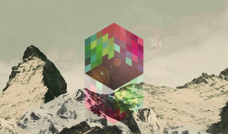 абстракция, графика, art, высоком, кубик, нов, качестве, базе,
