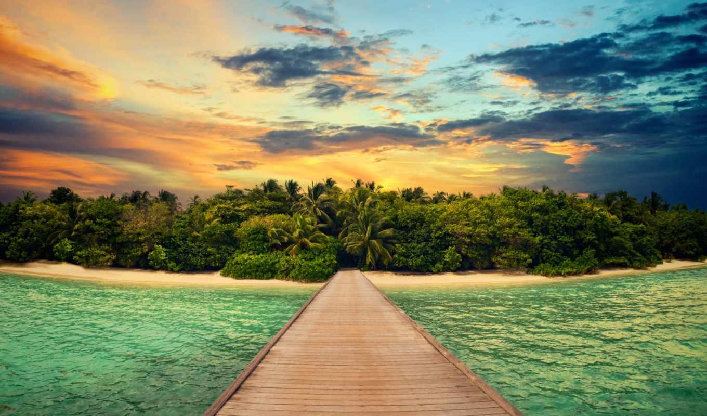 остров, причал, пальмы, горы, клипарт, ocean, растровый, water,