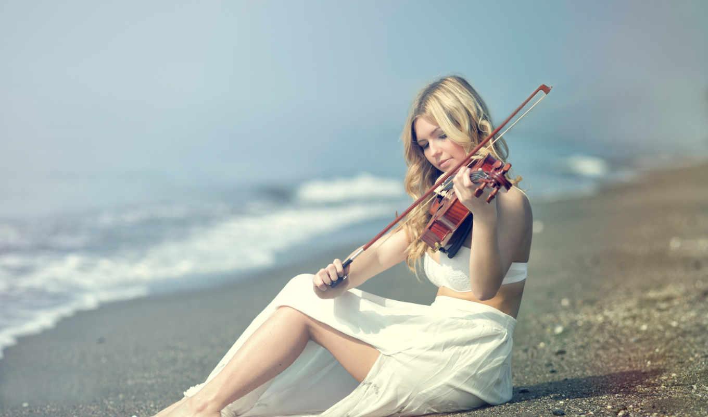 скрипачка, музыка, берег, kery, девушка, rut,