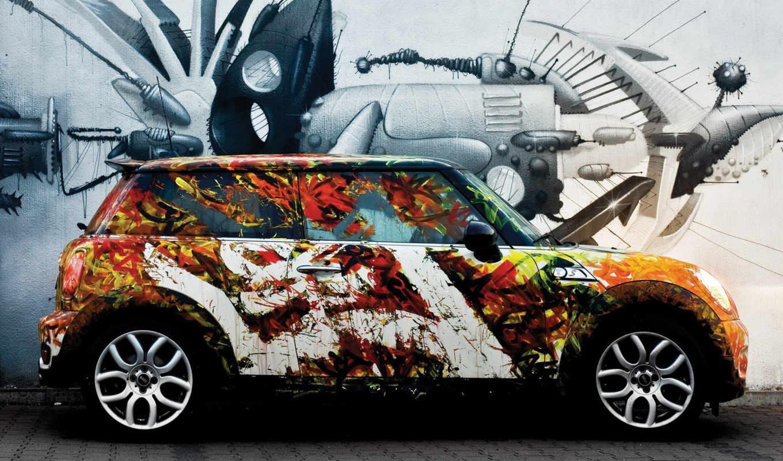 мини, cooper, машина, тюнинг, авто, краска, диски, graffiti,