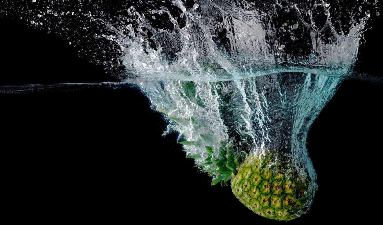 pineapple, water, брызги, макро, плод,