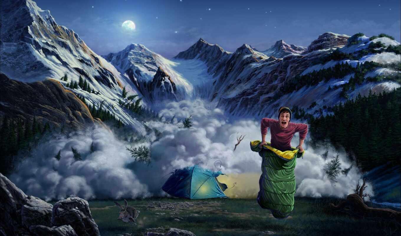 арта, tent, гора, парень