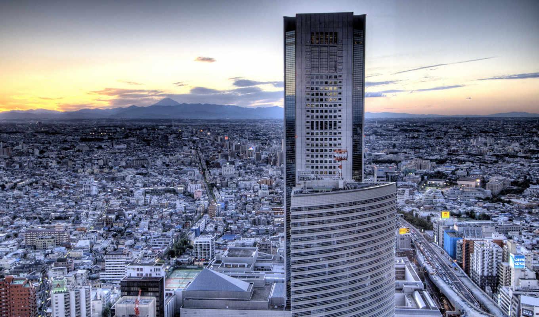 небоскрёб, город, вечер, картинка, картинку, cities, buildings, cityscapes, image, кнопкой, мыши,