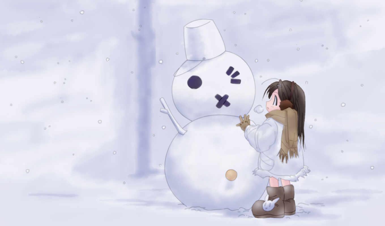 снеговик, девочка, снег, смотрите, девочкой,
