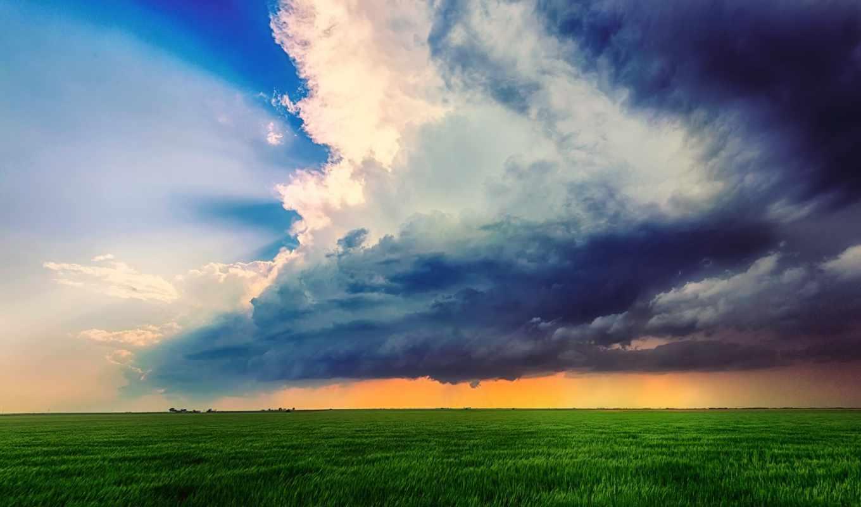 облака, тучи, небо, поле, лето, картинка, картинку,
