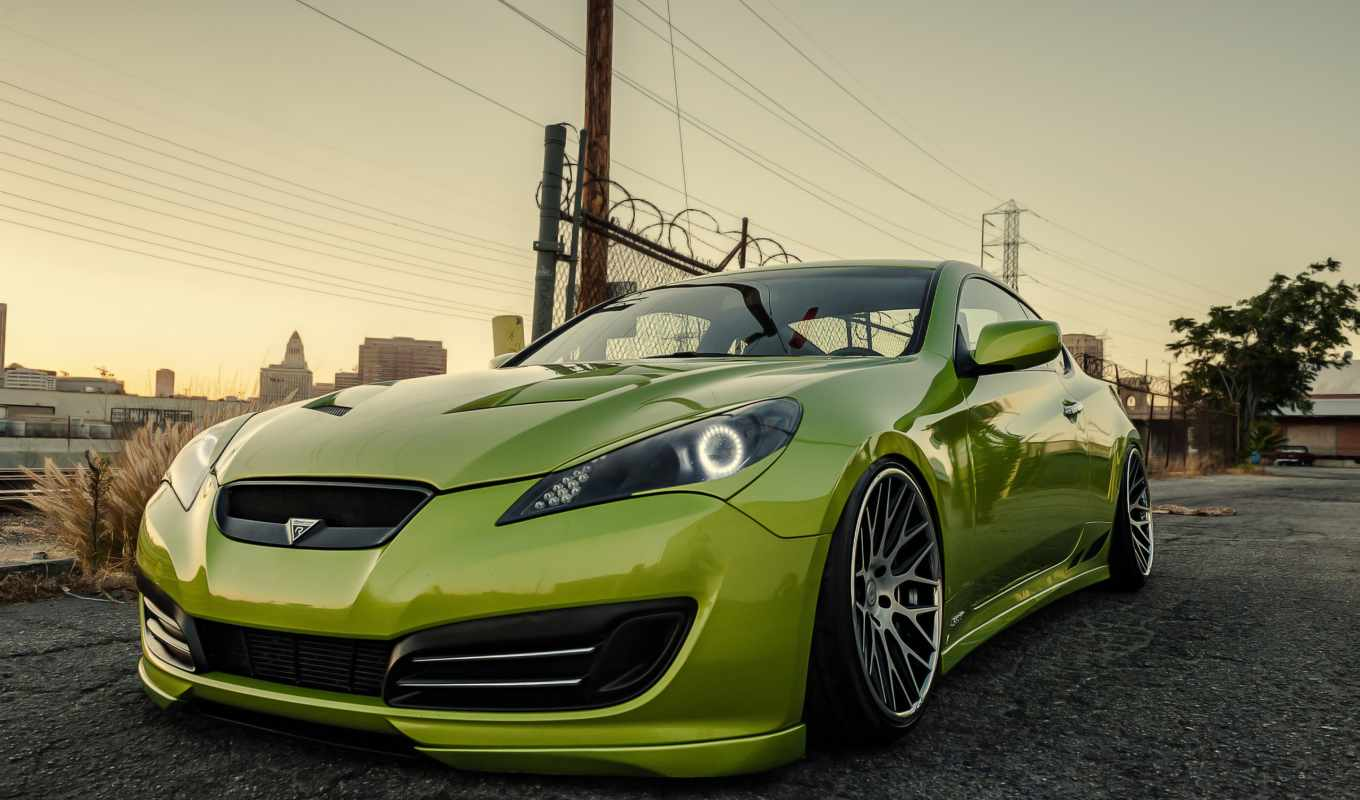 hyundai, genesis, тюнинг, stance, coupe, зелёный, заставки, daily,