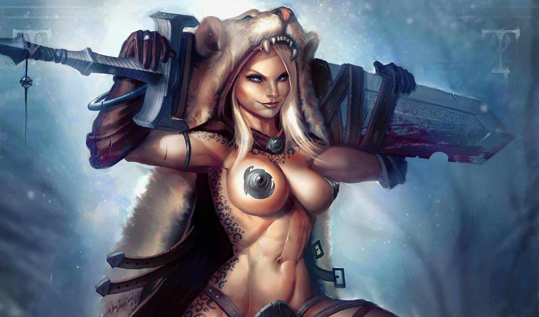 девушка, воин, меч, кровь, skin, art, фэнтези,