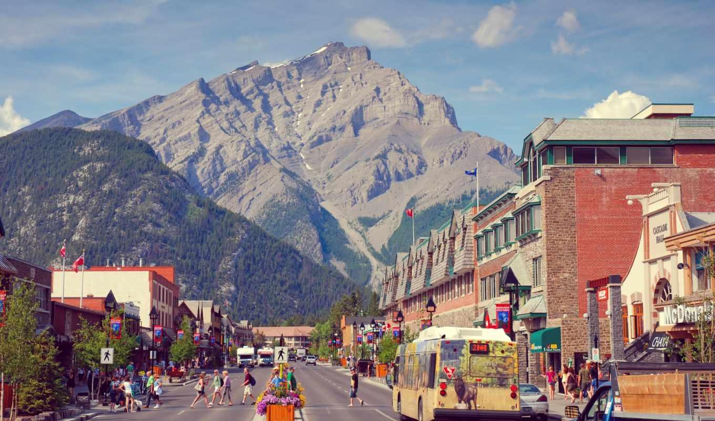 banff, канада, альберта, банф, mountains, town, canadá,