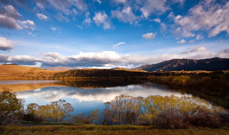 горы, небо, новая, озеро, природа, zealand, облака, картинка, деревья,