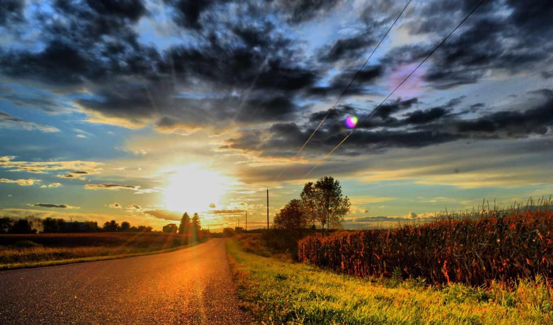 дорога, тучи, sun, лэп, oblaka, трава, закат,