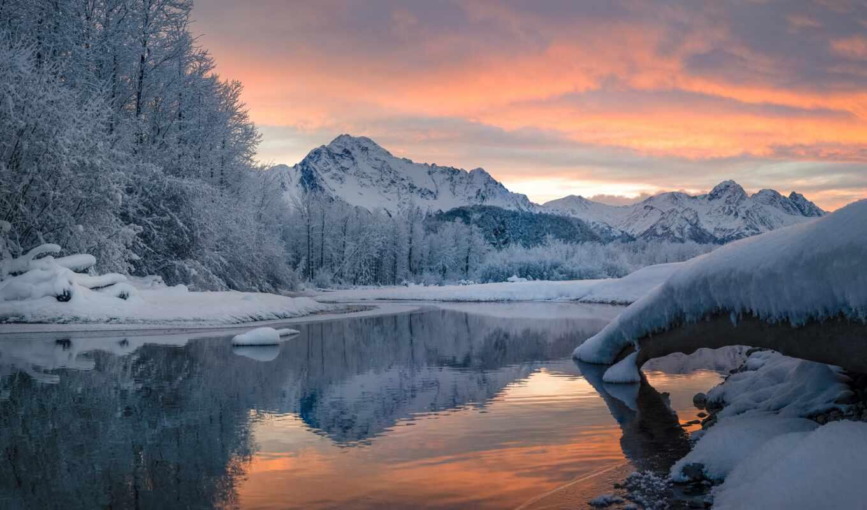 winter, qish, tarn, природа, снег, season, отражение, smartphone, планшетный