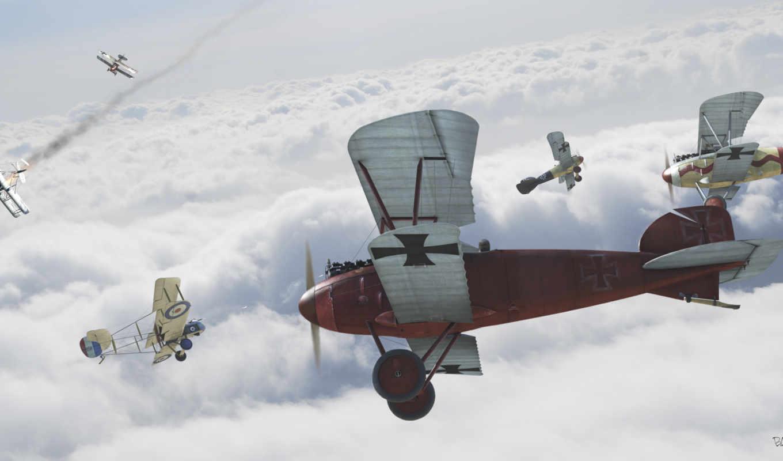 битва, самолет, биплан, небо,