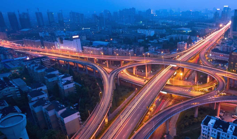 мегаполис, city, огни, ночь, движение, traffic, mist, blue, эстакада, parte, дорога, картинка, картинку,