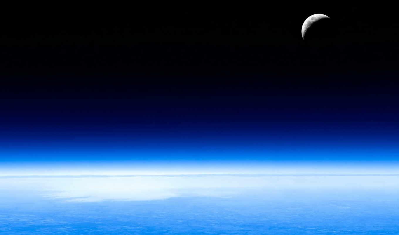 космос, небо, луна, земля,