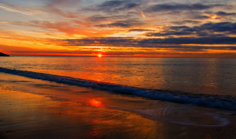 море, закат, sun, oblaka, взгляд,