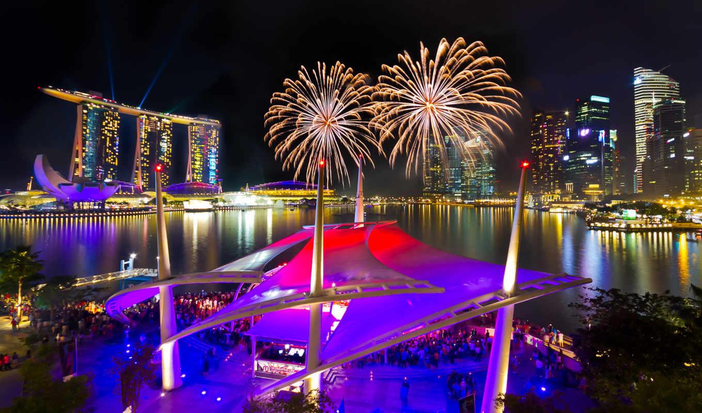 салют, fireworks, ночь, water, singapore, марина,