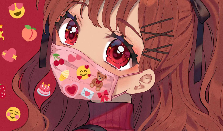 anime, девушка, маска, глаза, глаз, wear, биг