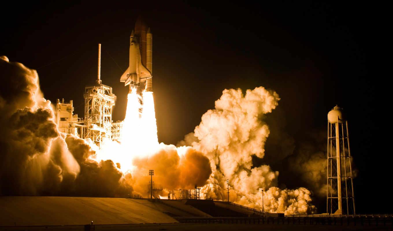discovery, shuttle, ночь, пламя, взлёт,