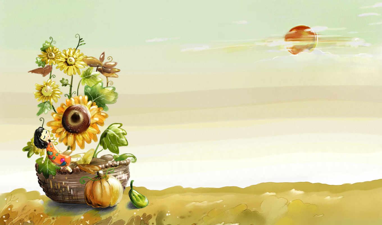 autumn, небо, природа, солнце, scenes, девочка, illustration, изображение, wallpapery, fantasy, painted, hand, картинка, фабрика, picsfab, cartoon, картинок,
