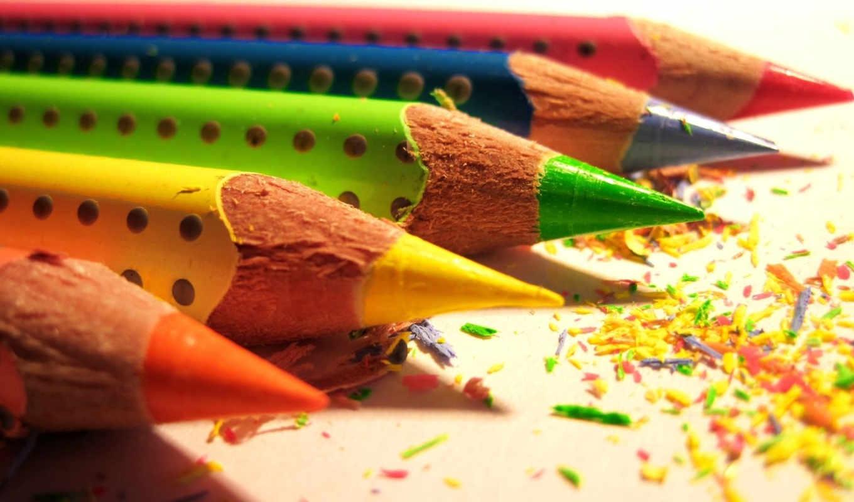 карандаши, цветные, макро,