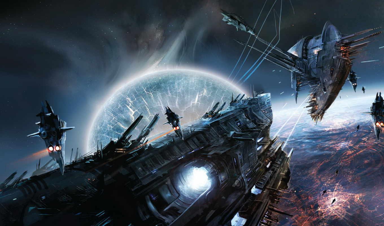 космос, без, названия, корабль, картинка, planet, космические,