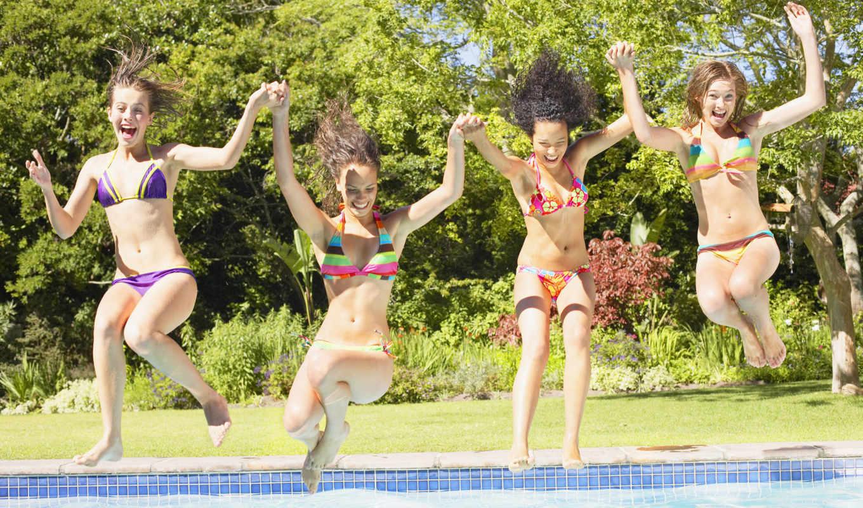 девушки, бассейн, счастье, прыжок, купальник