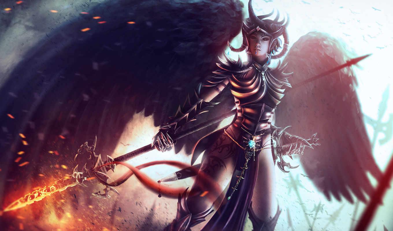 fantasy, крылья, девушка, ангелы, angel, огонь, картинка,