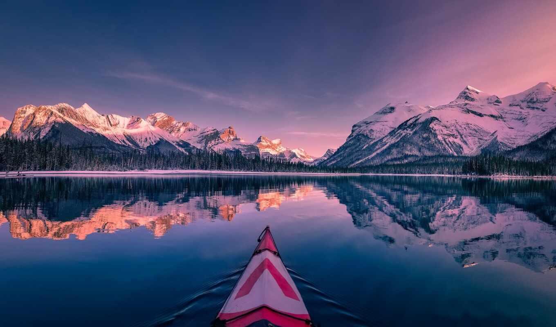 канада, озеро, loch, widescreen, альберта