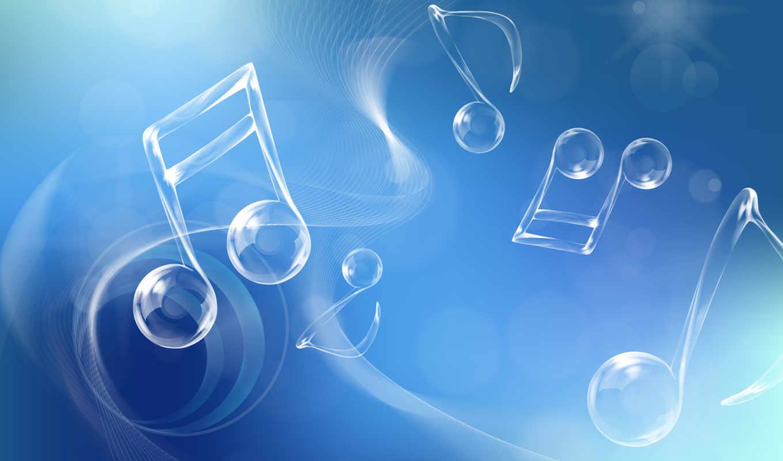 голубой, ноты, muzyka, пузыри