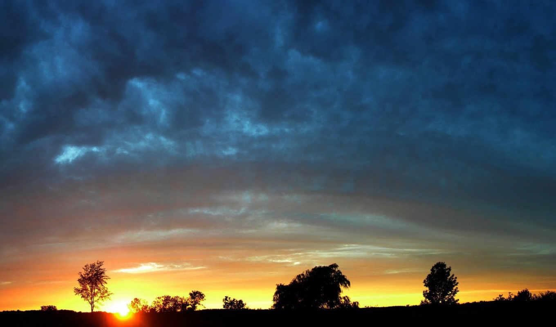 закат, природа,лес,небо,облака,