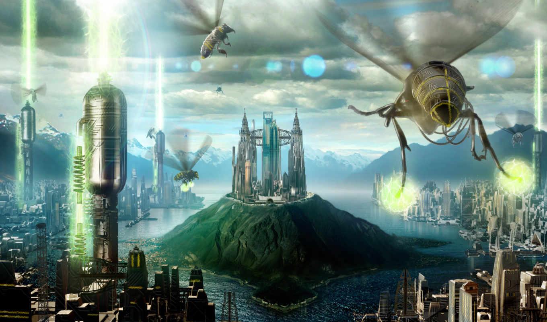 город, фантастика, девушек, красивых, будущее, подборка, desktop, компьютер,