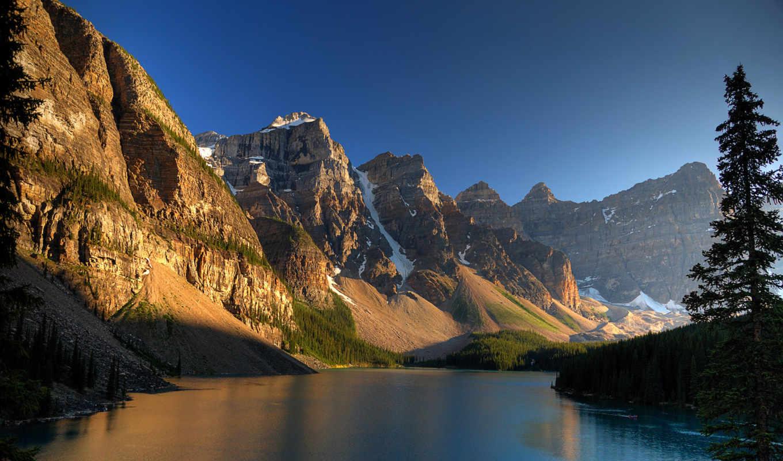 горах, озеро, закат, горы, широкоформатные, река, bora,