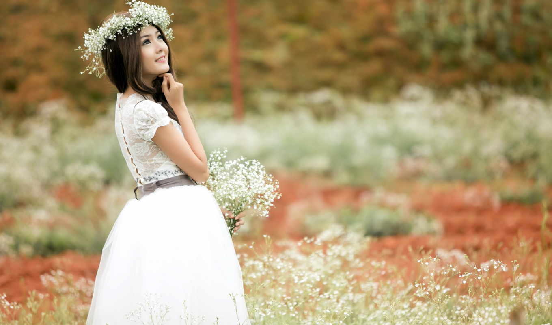 summer, девушка, цветы, венок, красавица, картинка, поле,