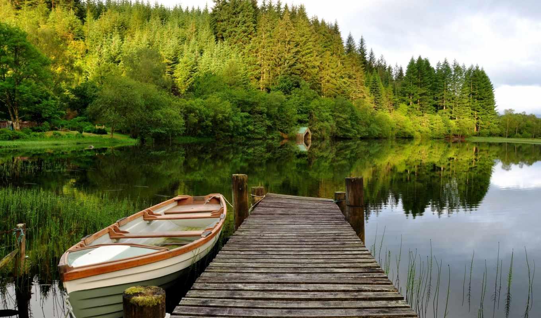 озеро, лодка, лес, мост, trees, landscape, небо, природа,