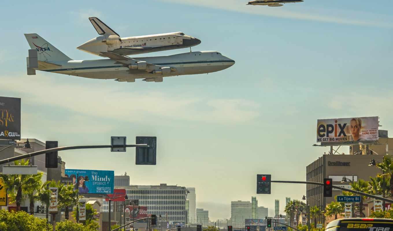 небо, самолёт, корабль, космос, angeles, was, последний, shuttle, cosmic,