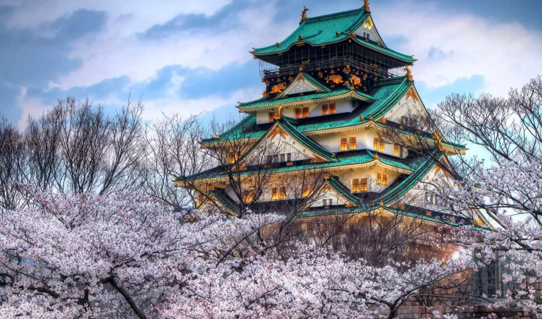 осака, castle, japanese